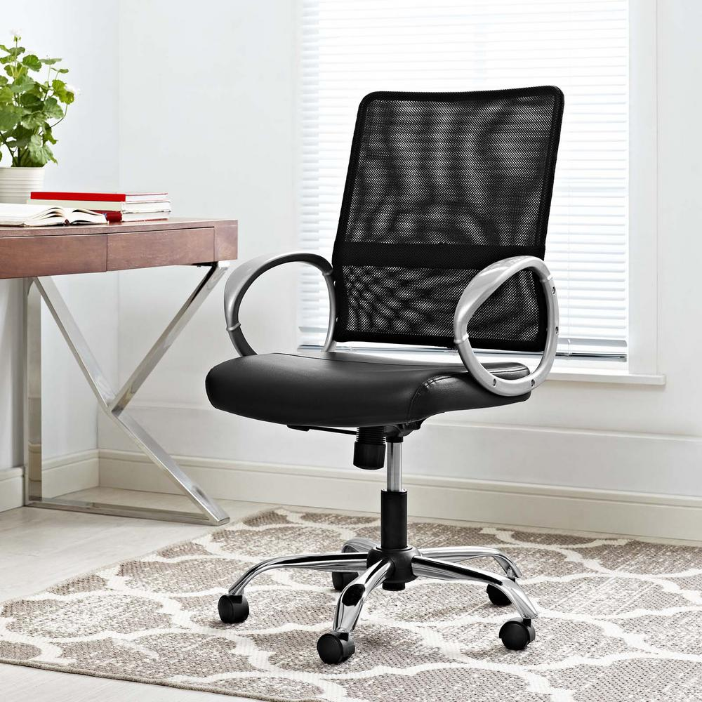 Command Mesh and Vinyl Office Chair in Black