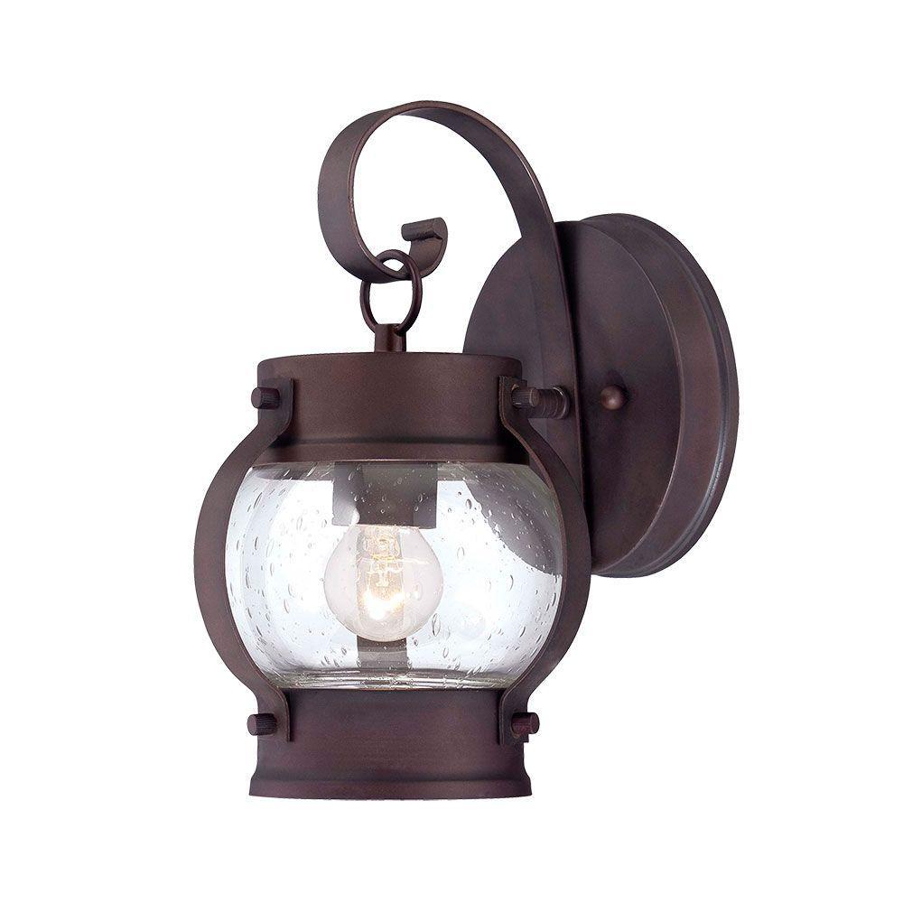 Boulder Collection 1-Light Outdoor Architectural Bronze Wall-Mount Light Fixture