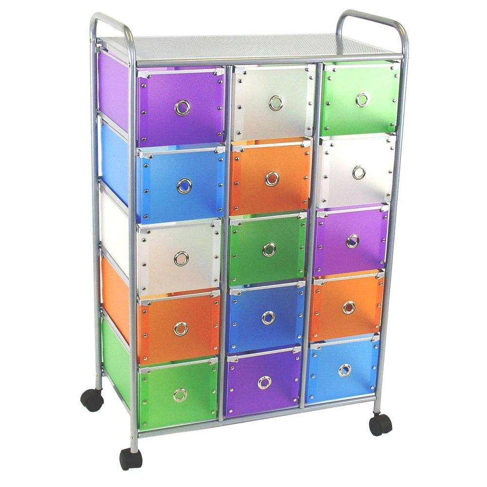 4D Concepts Metal storage Multi color drawers with silver metal frame Storage Furniture