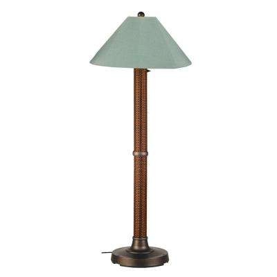 Bahama Weave 60 in. Red Castango Floor Lamp with Spa Shade