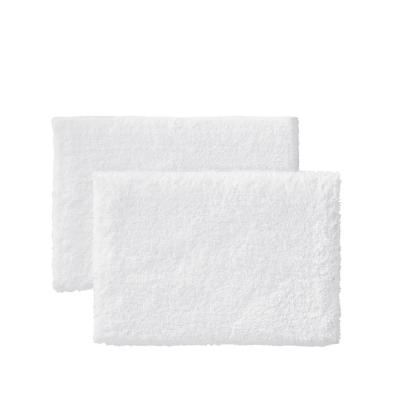 White 17 in. x 25 in. Non-Skid Cotton Bath Rug (Set of 2)