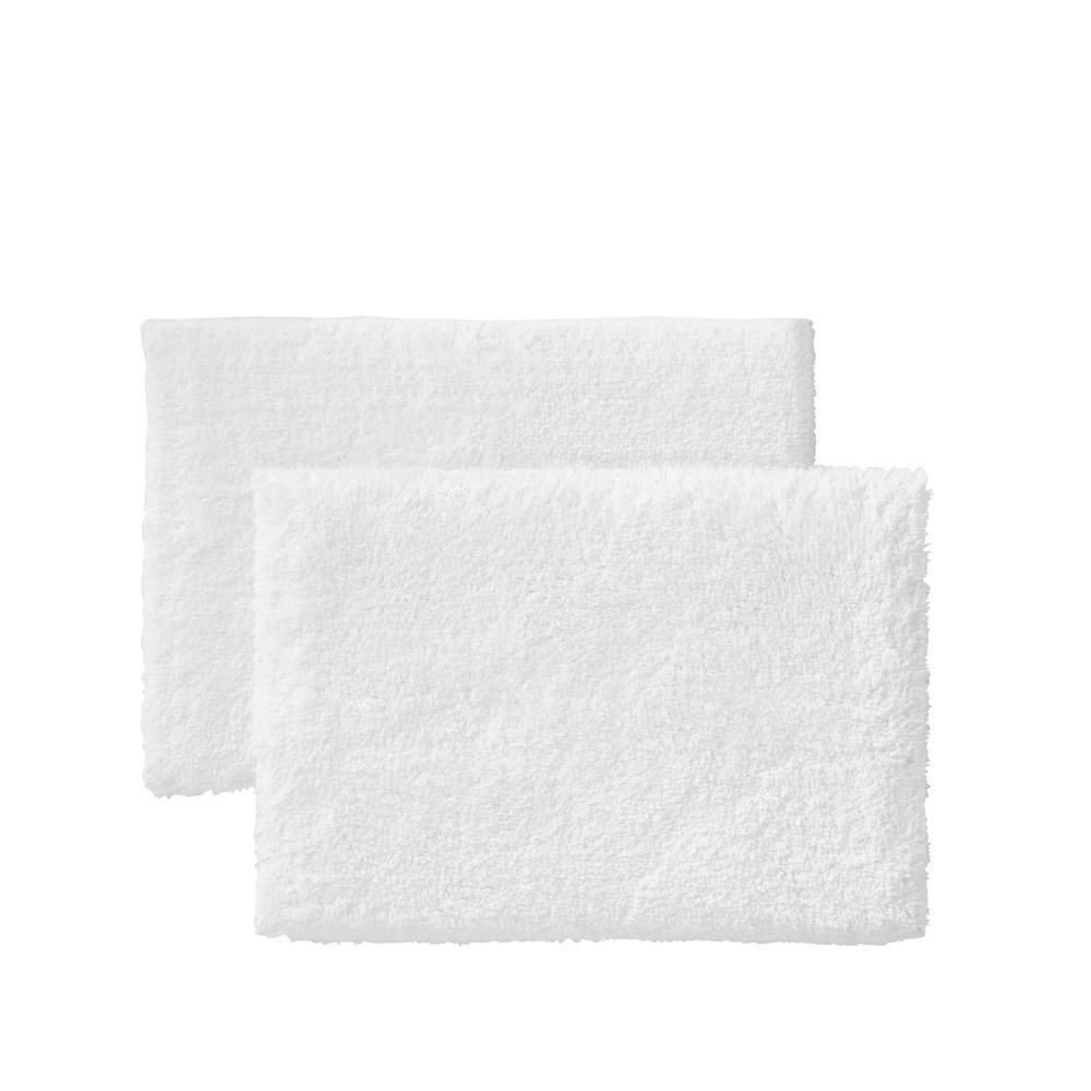 White 19 in. x 34 in. Non-Skid Cotton Bath Rug (Set of 2)