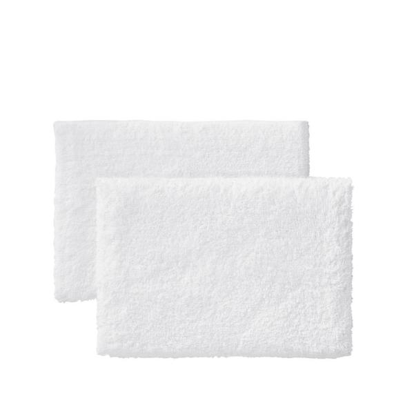 White 25 in. x 40 in. Non-Skid Cotton Bath Rug (Set of 2)