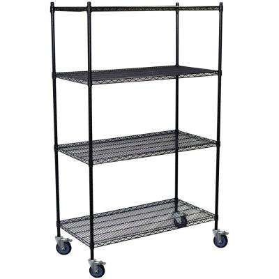 80 in. H x 48 in. W x 24 in. D 4-Shelf Steel Wire Shelving Unit in Black