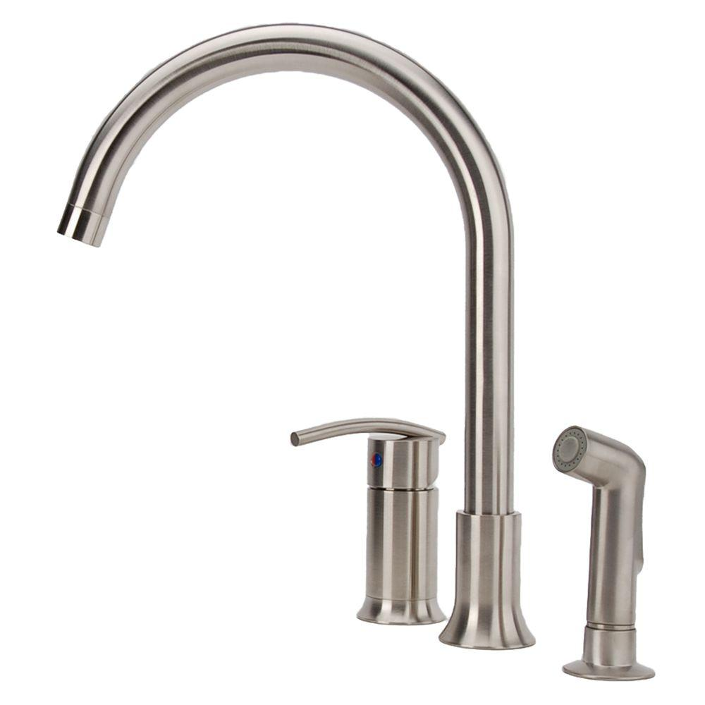 Fontaine Vincennes Single Handle Standard Kitchen Faucet With Side Sprayer In Brushed Nickel Mff Vcnk3 Bn The Home Depot