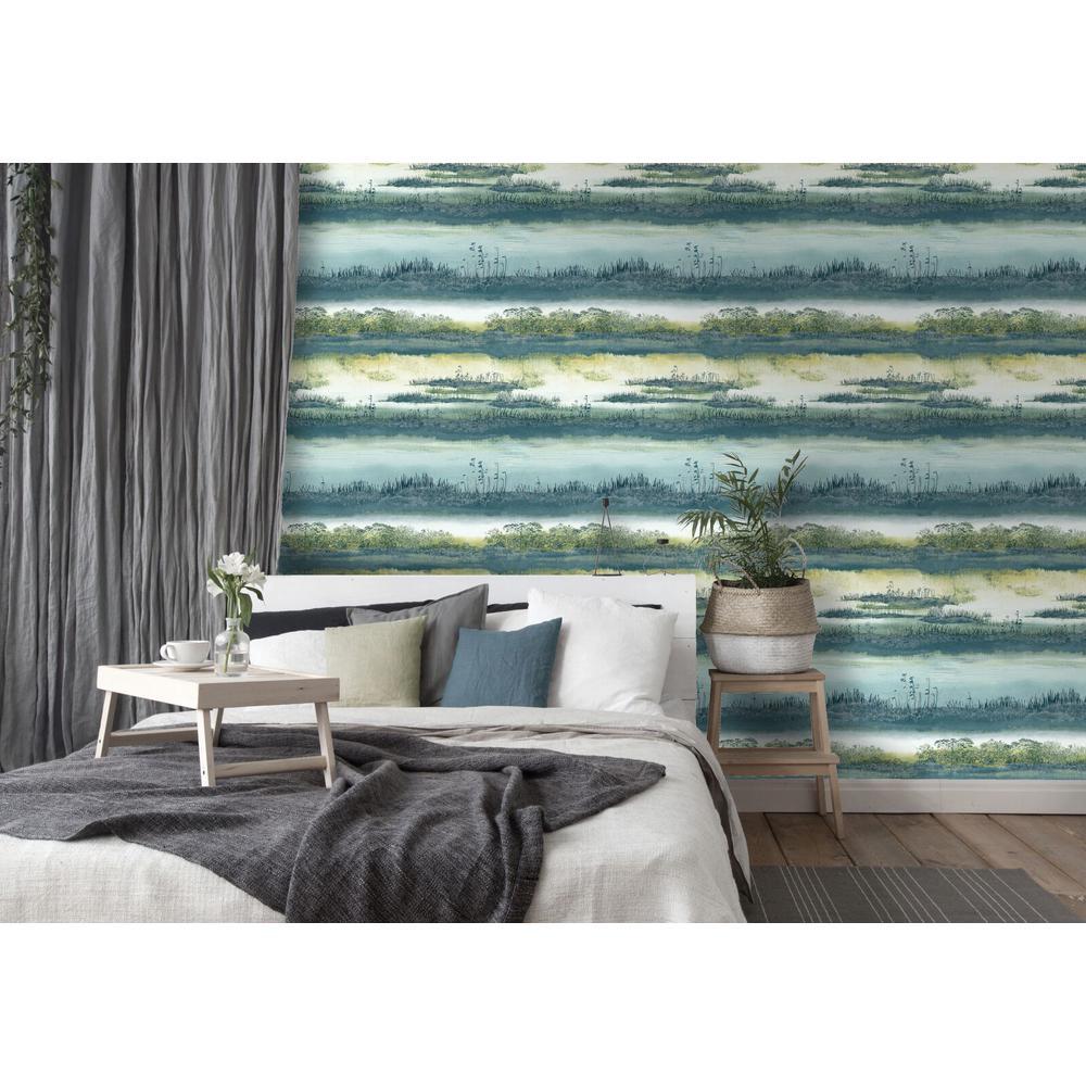 Teal Watercolor Wetlands Wallpaper
