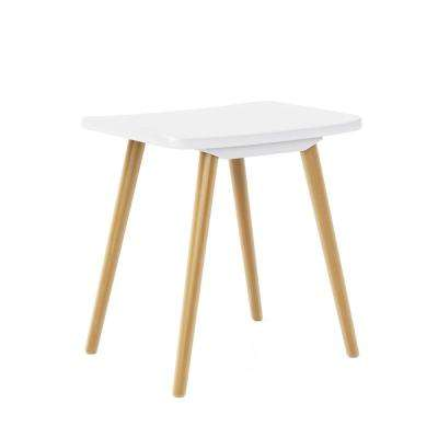 Blythe 19.5 in. White Saddle Stool