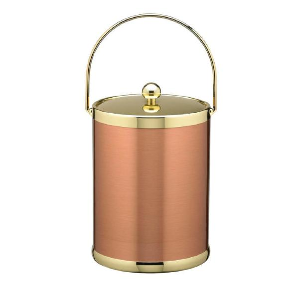 Kraftware Americano 5 Qt. Brushed Copper and Brass Ice Bucket with Metal Bale Handle