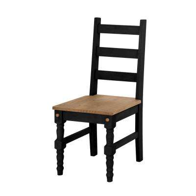 Jay 2-Piece Black Wash Solid Wood Dining Chair