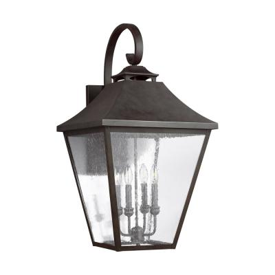 Galena 4-Light Sable Bronze Outdoor Wall Mount Lantern with Clear Seeded Glass