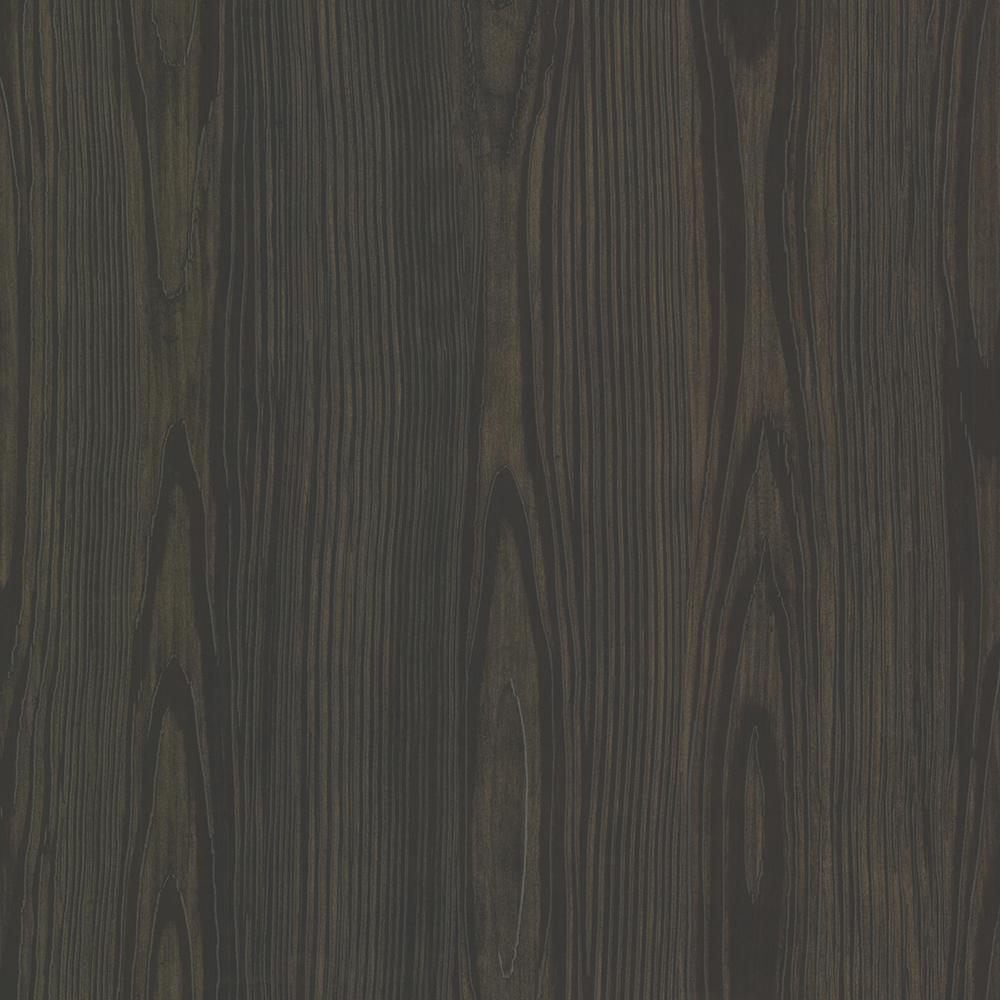 74.3  sq. ft. Tanice Dark Brown Faux Wood Texture Wallpaper