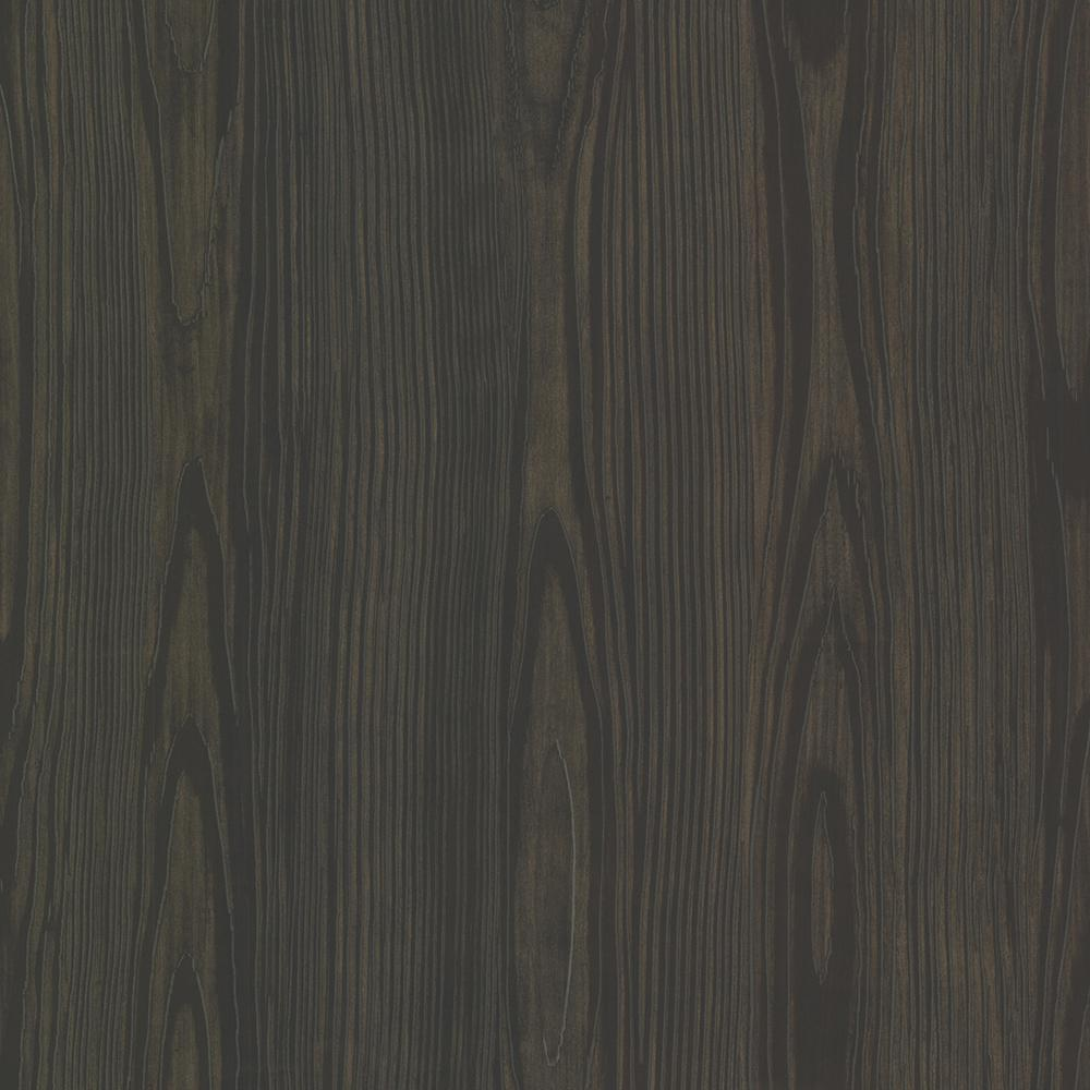 Brewster Black Tanice Faux Wood Texture Wallpaper Sample