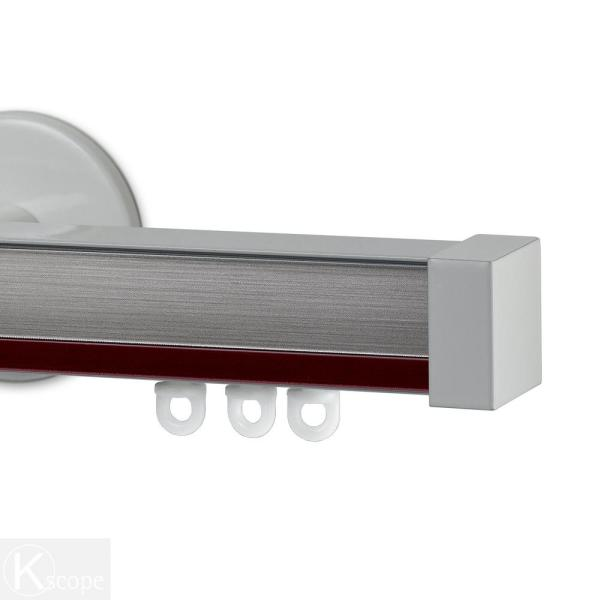 Nexgen 48 in. Non-Adjustable Single Traverse Window Curtain Rod Set with White Endcap in Rouge Applique