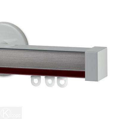 Nexgen 60 in. Non-Adjustable Single Traverse Window Curtain Rod Set with White Endcap in Rouge Applique