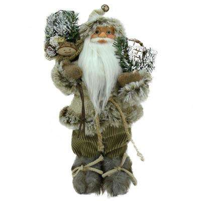 12 in. Alpine Chic Beige and Brown Burlap and Corduroy Standing Santa with Snowshoes and Gift Bag