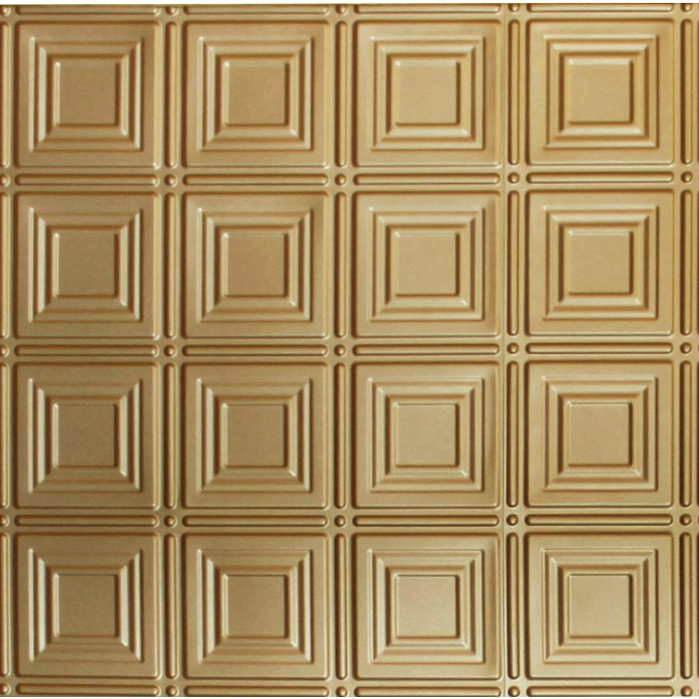 Global Specialty Products Dimensions 2 ft. x 2 ft. Brass Lay-in Tin Ceiling Tile for T-Grid Systems