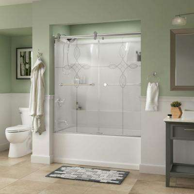Mandara 60 in. x 58-3/4 in. Semi-Frameless Contemporary Sliding Bathtub Door in Chrome with Tranquility Glass