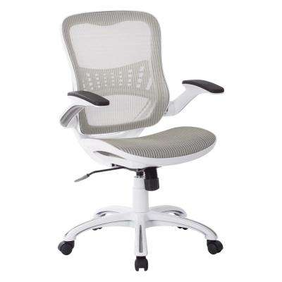 Riley White Mesh Seat Office Chair with and Back