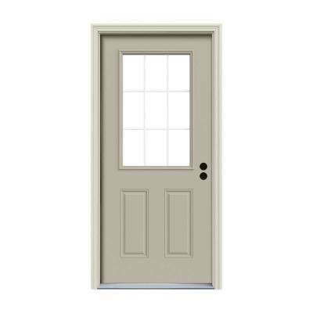 36 in. x 80 in. 9 Lite Desert Sand Painted Steel Prehung Left-Hand Inswing Front Door w/Brickmould