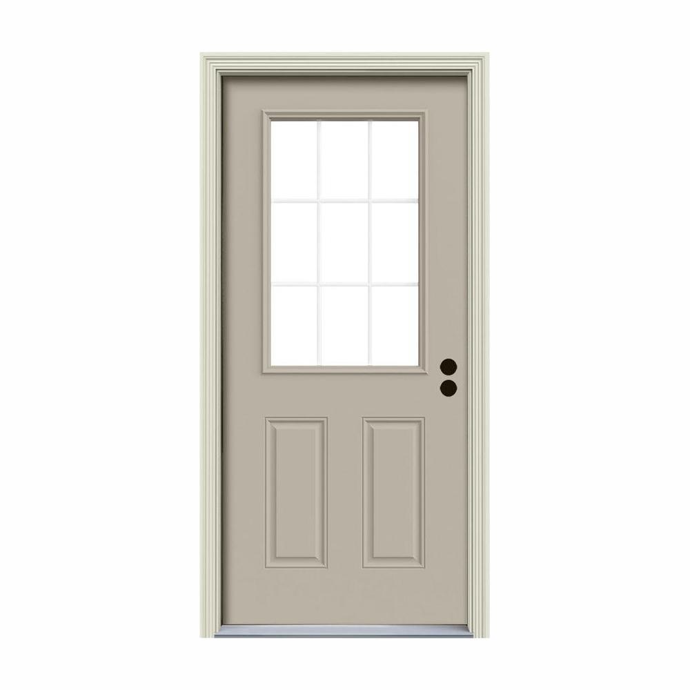 36 in. x 80 in. 9 Lite Desert Sand Painted Steel Prehung Left-Hand Inswing Back Door w/Brickmould