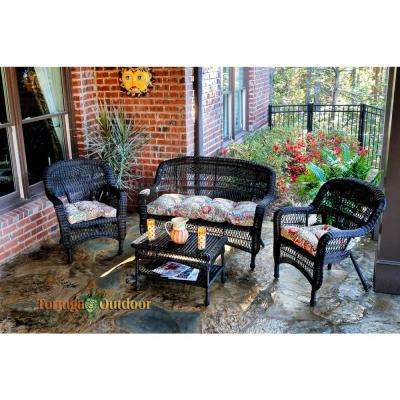 Portside Dark Roast 4-Piece Wicker Patio Seating Set with Zoe Citrus Cushions