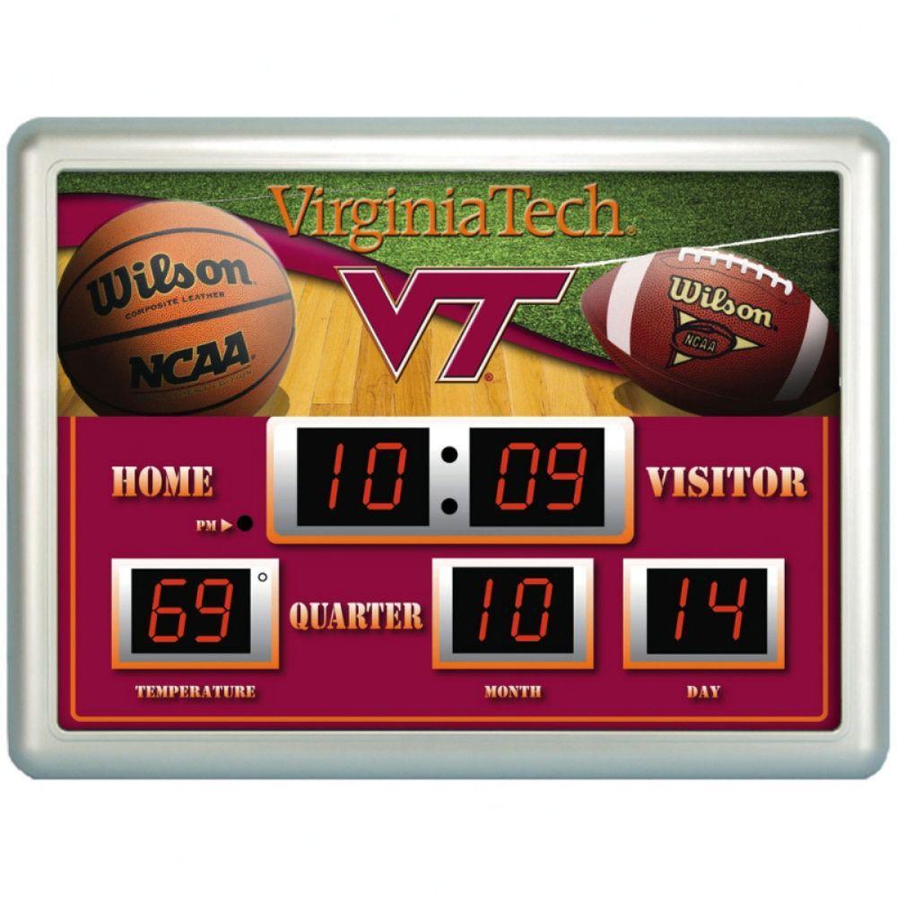 null Virginia Tech University 14 in. x 19 in. Scoreboard Clock with Temperature