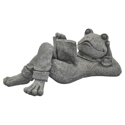 19 in. L x 9 in. W x 8 in. H Resin/Magnesium Frog Decoration in Gray