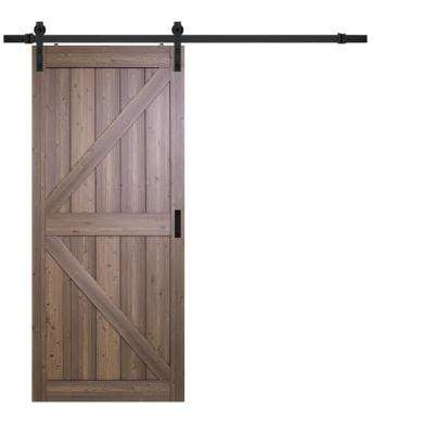 36 in. x 84 in. Gunstock Oak K Design Solid Core Interior Barn Door with Rustic Hardware Kit