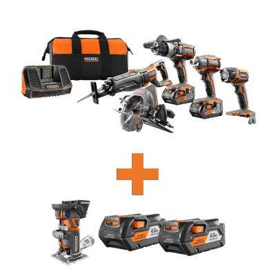 18-Volt Lithium-Ion Cordless 5-Tool Combo w/Bonus OCTANE Brushless Compact Fixed Base Router & (2) 4.0Ah Battery Packs