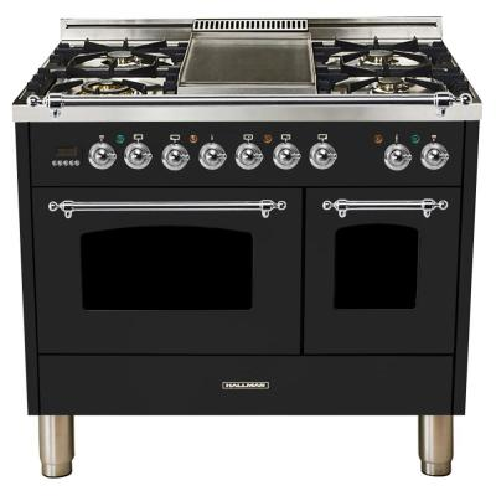 40 in. 4.0 cu. ft. Double Oven Dual Fuel Italian Range True Convection,5 Burners, LP Gas, Chrome Trim/Glossy Black