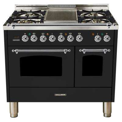 40 in. 4.0 cu. ft. Double Oven Dual Fuel Italian Range True Convection,5 Burners, LP Gas, Chrome Trim/Glossy Black