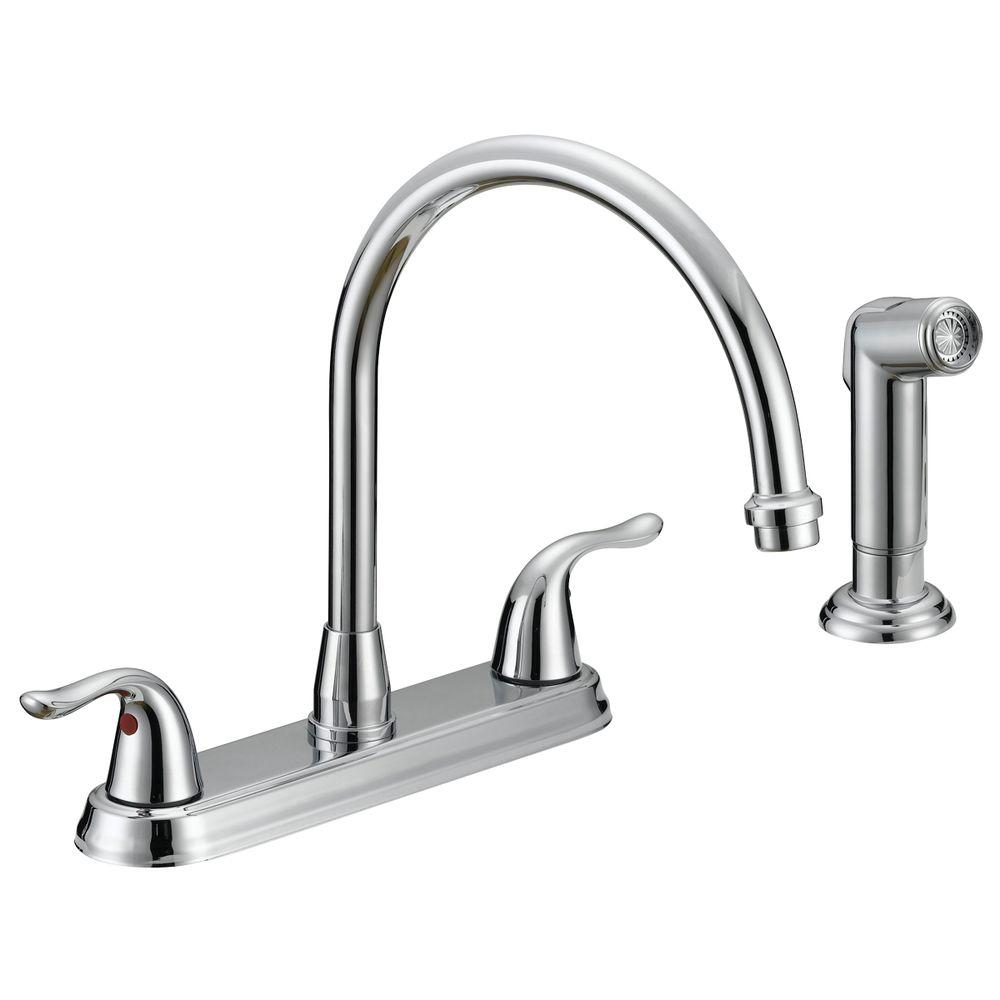 Ez Flo Impression Collection Two Handle Standard Kitchen Faucet With Side Sprayer In Chrome