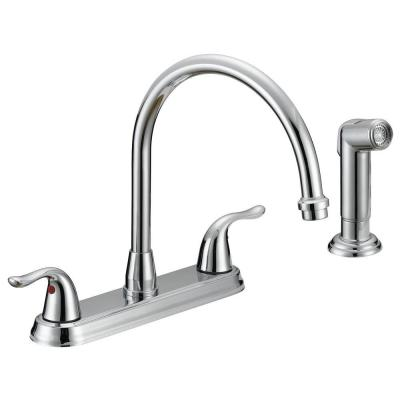 Impression Collection Two-Handle Standard Kitchen Faucet with Side Sprayer in Chrome