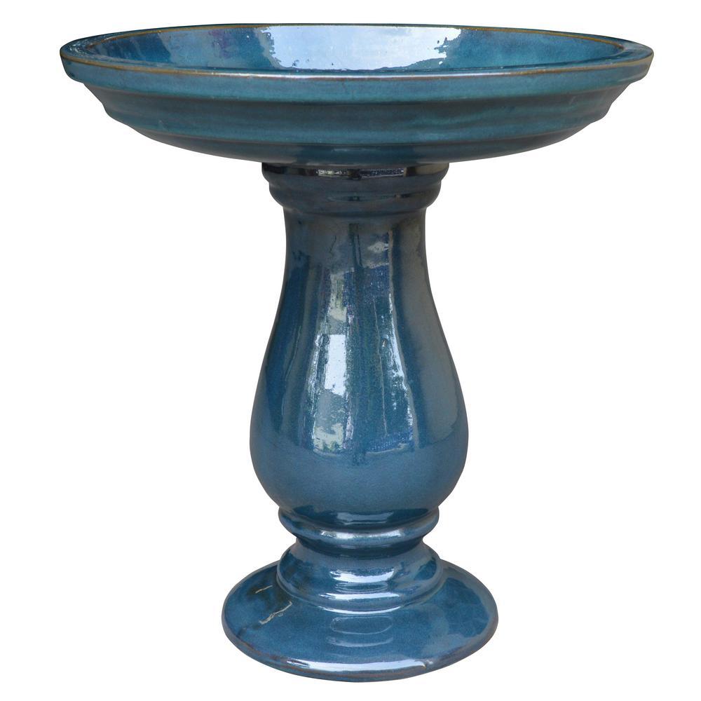20.5 in. Deepsea Blue London Ceramic Birdbath