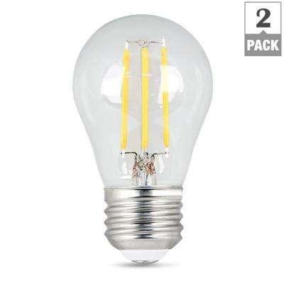 60-Watt Equivalent A15 Dimmable Filament LED 90+ CRI Clear Glass Light Bulb, Soft White (2-Pack)