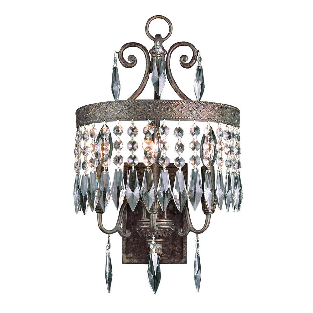 Bel Air Lighting Cabernet Collection 3-Light Patina Bronze Sconce with Clear Crystal Prisms