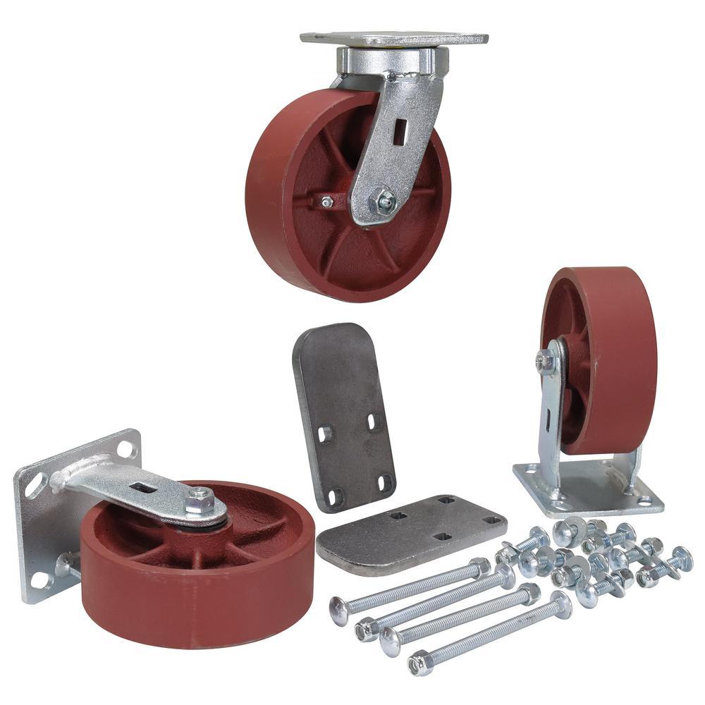 6 in. x 2 in. Ductile Steel Caster Kit - Set of 3 - 6,000 lb. Capacity