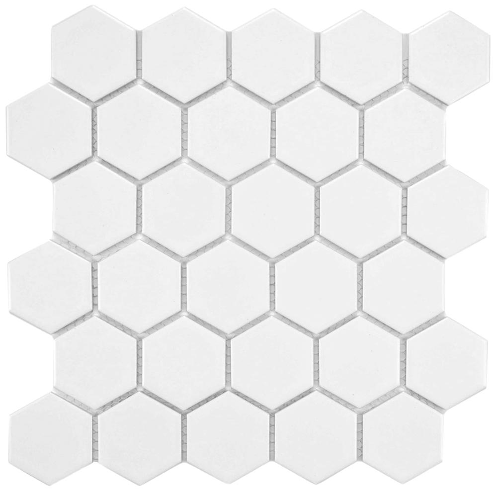 Merola Tile Metro Hex 2 in. Matte White 10-1/2 in. x 11 in. x 5 mm ...