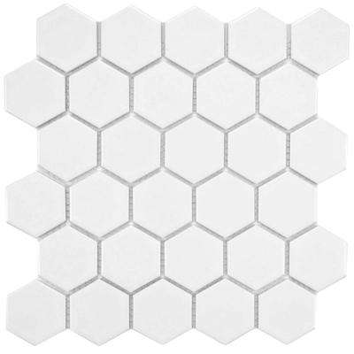 Metro Hex 2 in. Matte White 10-1/2 in. x 11 in. x 5 mm Porcelain Mosaic Tile (8.02 sq. ft. / case)