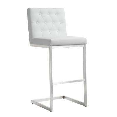 Helsinki 42.5 in. White and Silver Steel Barstool (Set of 2)