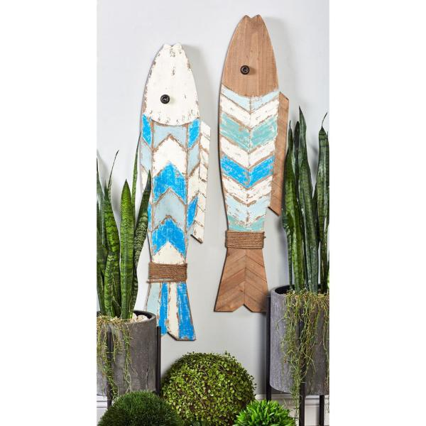 Litton Lane 44 in. x 10 in. Brown Fish Wooden Wall Art