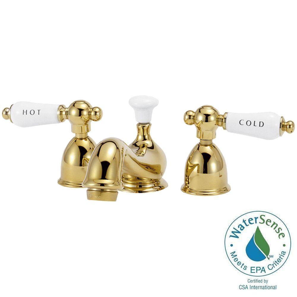 Elizabethan Classics Bradsford 4 in. Minispread 2-Handle Mid-Arc Bathroom Faucet in Polished Brass