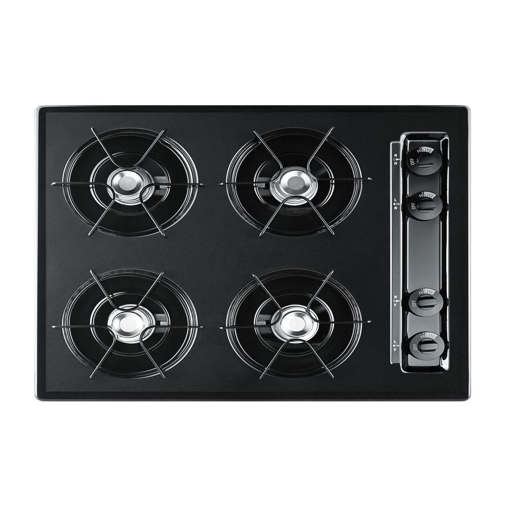 Summit Appliance 24 in. Recessed Surface Gas Cooktop in Black-DISCONTINUED