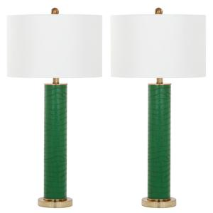 Ollie 31.5 in. Dark Green Faux Alligator Table Lamp with Off-White Shade (Set of 2)