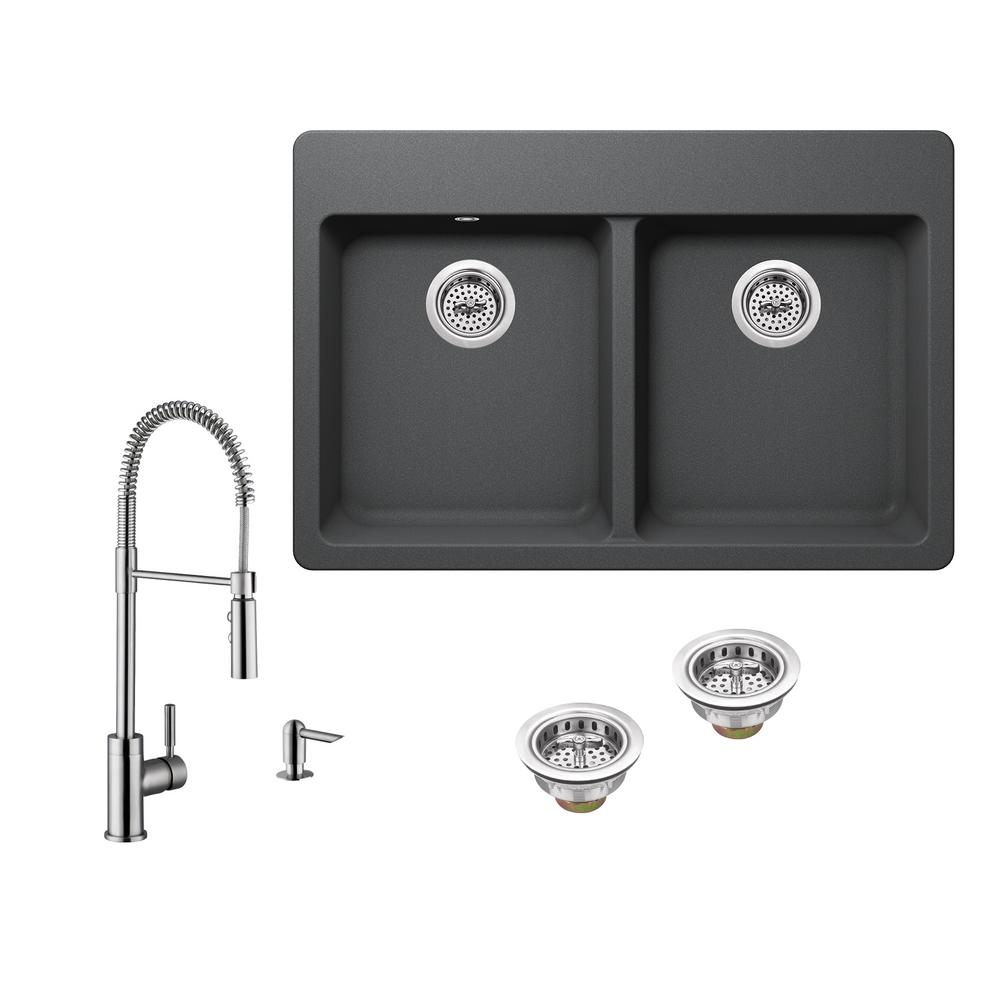 All In One Drop Quartz Composite 33 4 Hole 50 Double Bowl Kitchen Sink Gray With Faucet Brushed Nickel