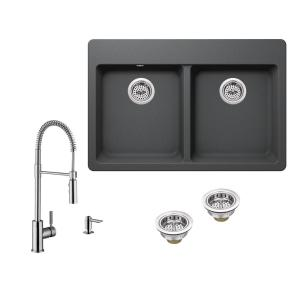 All-in-One Drop-in Quartz Composite 33 in. 4-Hole 50/50 Double Bowl Kitchen Sink in Gray with Faucet in Brushed Nickel