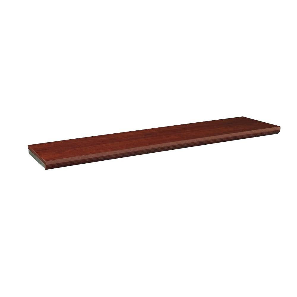 closetmaid impressions 48 in dark cherry top shelf kit 30800 the rh homedepot com Cherry Corner Shelf dark cherry wall shelves