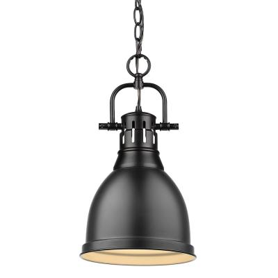 Duncan 1-Light Black Pendant and Chain with Matte Black Shade