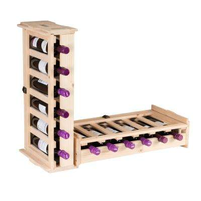 6-Bottle Unfinished Wood Stackable Wine Rack (2-Pack)