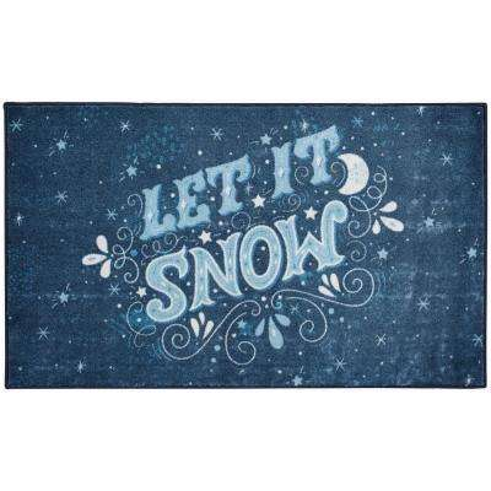 Let It Snow Navy 2 ft. 6 in. x 4 ft. 2 in. Area Rug